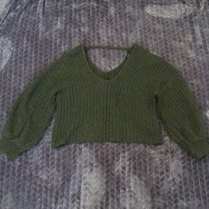 Green Balloon Sleeve Cropped Sweater Small